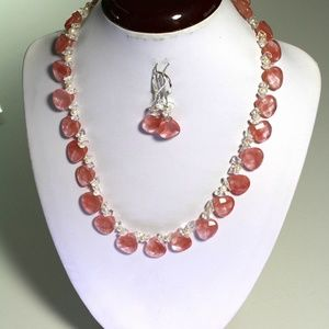 Handmade Natural Cherry and Pink Quartz Gemstone